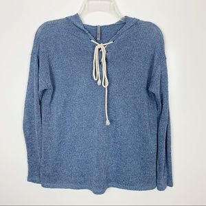 Jolie Blue Knit Lace Up Pullover Hooded Sweater